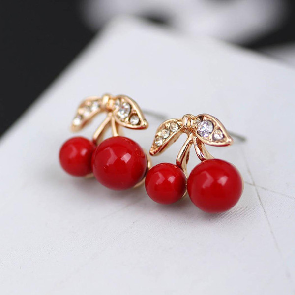 New Women Fashion Earrings Jewelry Trendy Cherry Shape Charm Wedding Gift Pair of Casual Party Dating Artificial Gem Red