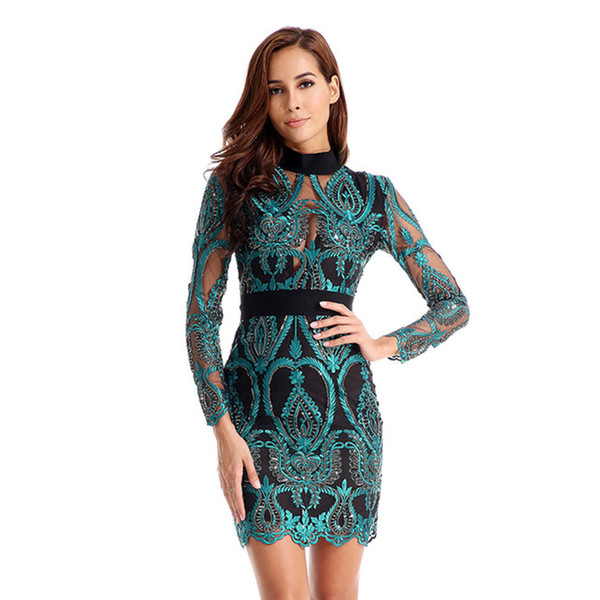 2019 New Women Dress Long Sleeve Hollow Out Celebrity Lace Evening Party Dresses Sexy Club Vestidos Ladies Clothing J190430