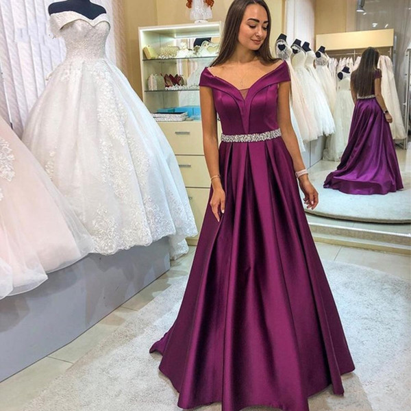 2020 Elegant Grape Off The Shoulder Evening Formal Dresses Cap Sleeve Satin Sweep Train A Line Prom Gowns With Beading