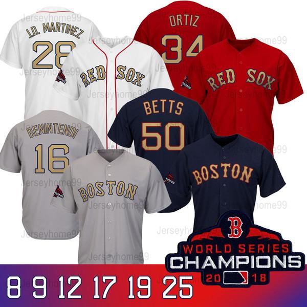 Boston 2019 Red Sox world series champions jerseys T-shirt da baseball da uomo Toddlers da baseball con la patch del campione Golden Font