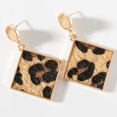 Schmuck Europäische und amerikanische sexy Mädchen Temperament Ohrringe Leopardenmuster Metall geometrische quadratische Runde Wildleder Ohrstecker