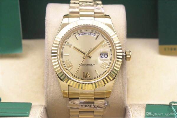 2018 luxo dos homens de Alta Qualidade relógio mecânico 40 MM Mens Relógios Mecânicos Automáticos pulseira de aço Inoxidável relógios de Pulso