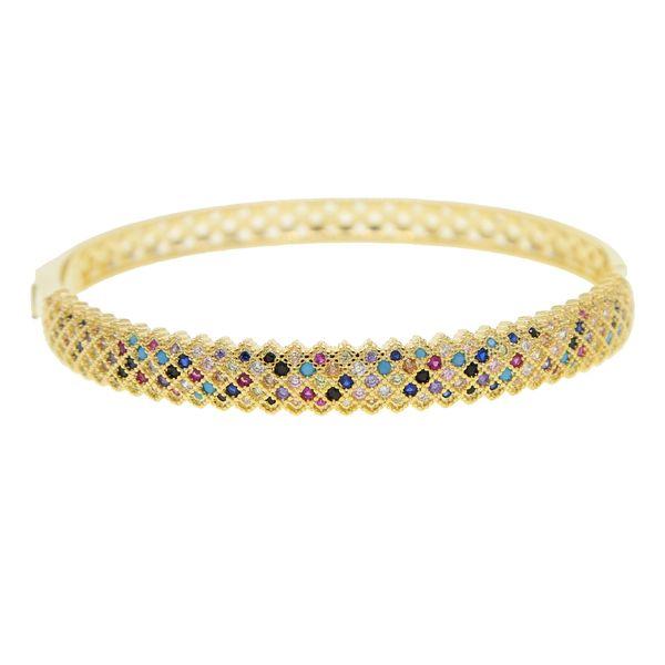 Behomia boho luxo banda larga banhado a ouro bangle micro pavimentar colorido zirconia cz cz lindo pulseira