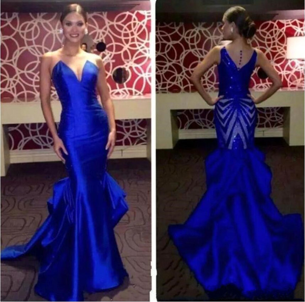 2019 Royal Blue Prom Dresses Formal Sexy V-cut Neck Backless Fitted Mermaid Floor Length Elegant Home Party Dresses Customized Evening Gowns