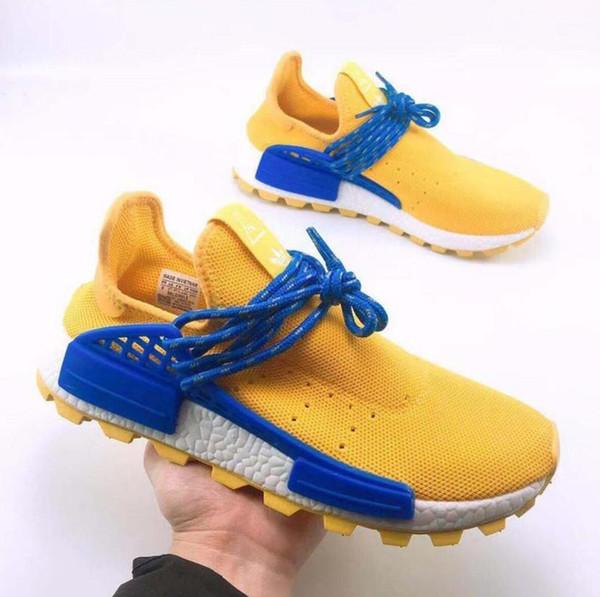 With Box Cheap 36-4Hot Human Race Shoes s Men Women Pharrell Williams HU Runner Yellow Black White Red Green Grey blue sports sneaker 36-46