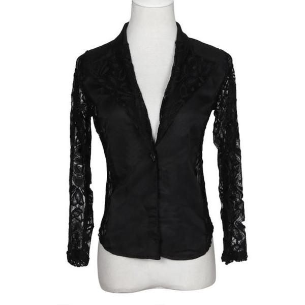 blazer women suit jackets fashion Ladies workwear Sexy Lace Crochet blazer mujer slim plus size S-4XL d90520