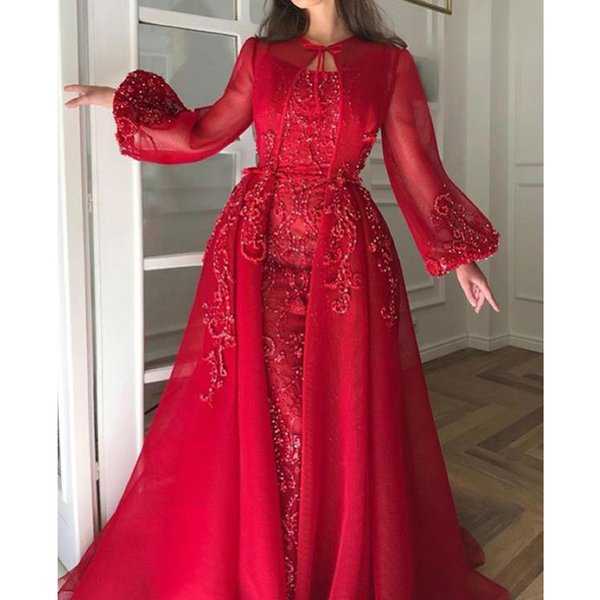 Red Prom Dresses Long Sleeve Pearls Lace Appliques 2019 A Line Floor Length Evening Dresses Arabic