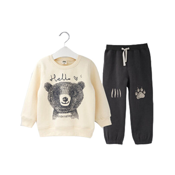 2019 İlkbahar Sonbahar Çocuk Erkek Takım Elbise Giyim Seti Bebek Spor Karikatür Ayı Kostüm Karakter Çocuk Eşofman Pantolon + ceket Giysi Y190518