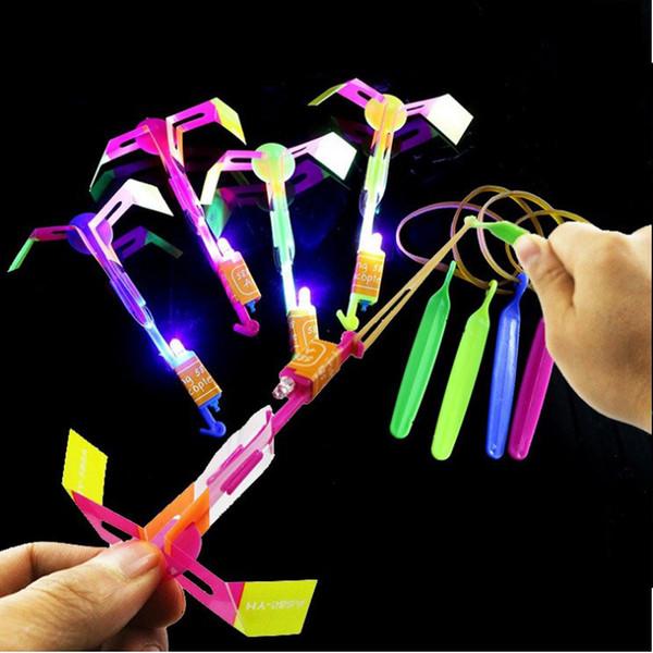 50/100pcs Rocket Arrow Luminous Big Slingshot Led Light Arrows Flash Helicopter Flying Emitting Children's Toys Gift Q190611