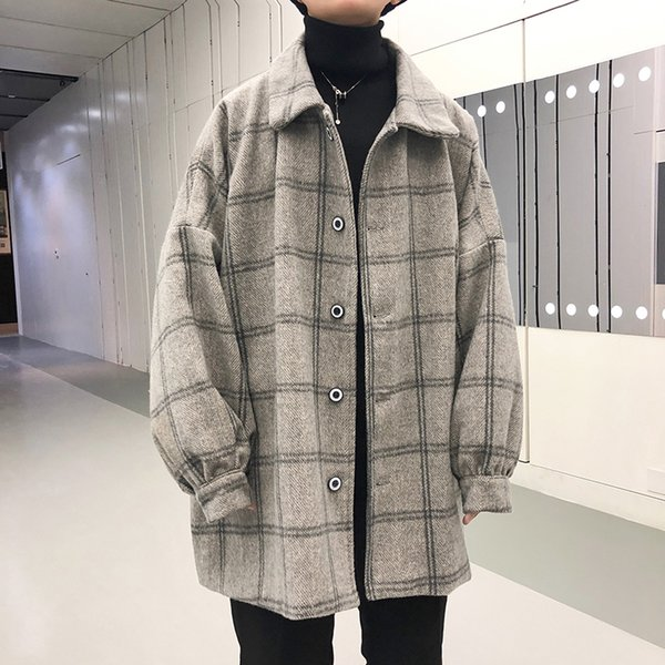 EWQ 2019 Spring Autumn Men Woolen Plaid Windbreaker Jacket Vintage Long Sleeve Loose Coat New Arrival Men Fashion Overcoat HD528