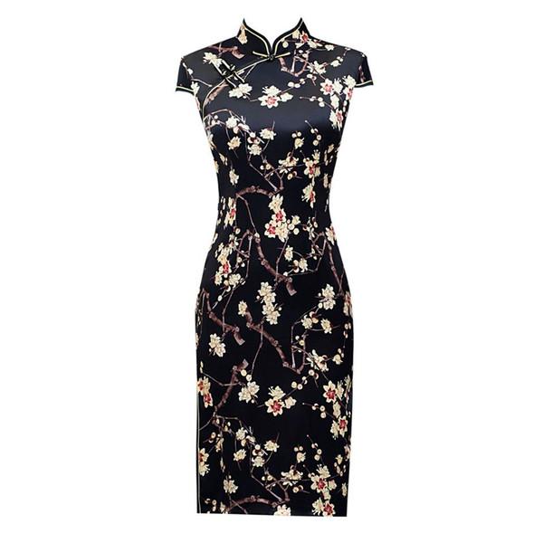 Black Rayon Chinese Women's Elegant Short Lady Mandarin Collar Qipao Handmade Button Cheongsam Sexy Dress Clothing Size M-XXXXL