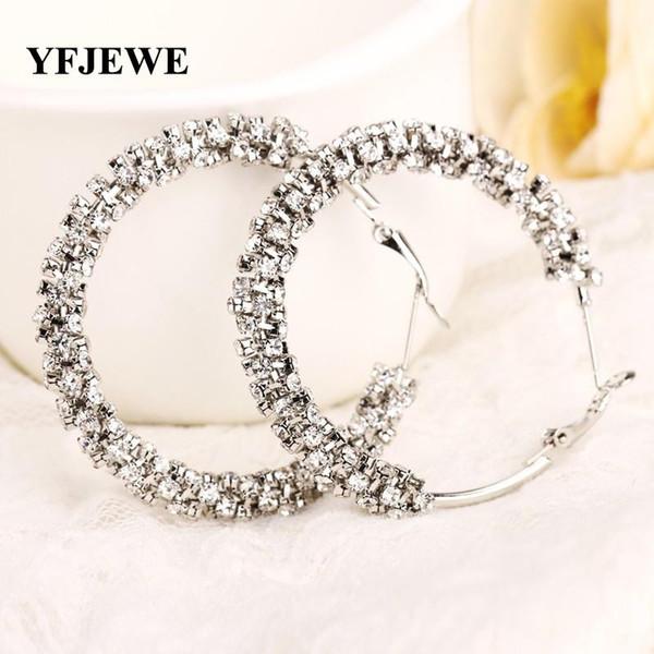 YFJEWE New hot selling tendy popular crystal big earring new fashion circle rhinestone hoop earrings for women wholesale E006
