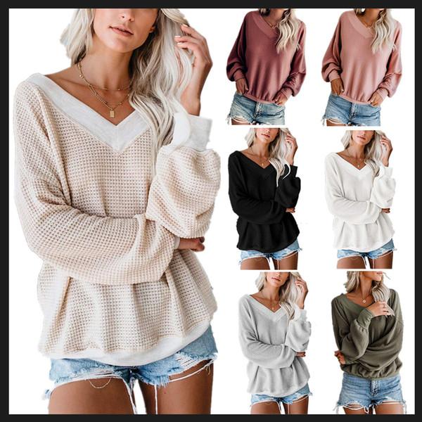 Tasarımcı Bayan Casual Gömlek Uzun Kollu V-Nck Seksi Sonbahar T Shirt Lüks Gevşek Şık Kadın Gömlek 11 Renk