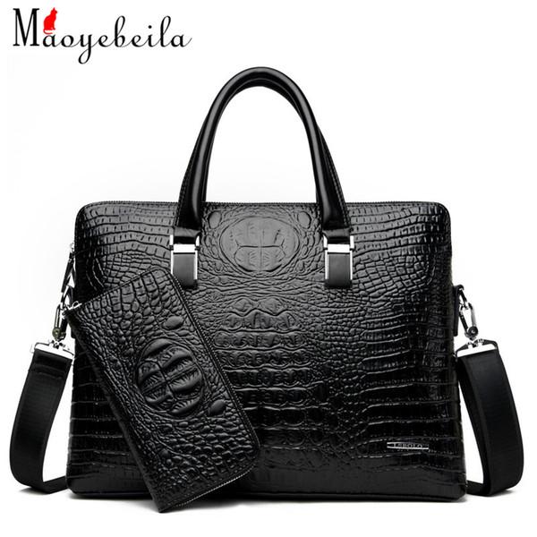 Nuova borsa alla moda degli uomini del sacchetto del regalo del computer della cartella della borsa del grano del coccodrillo alla moda di affari