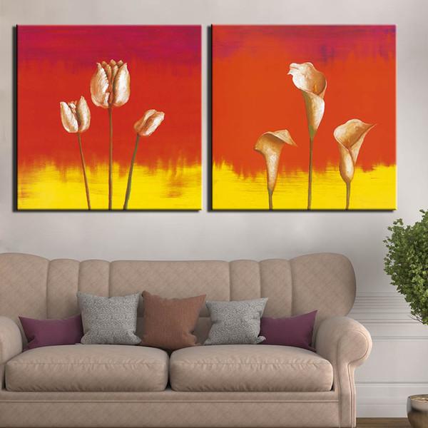 Плакат Искусство Живопись Холст Плакат Печать 2 панель Простая Калла цветок лилия Изображение Home Decor Wall Art
