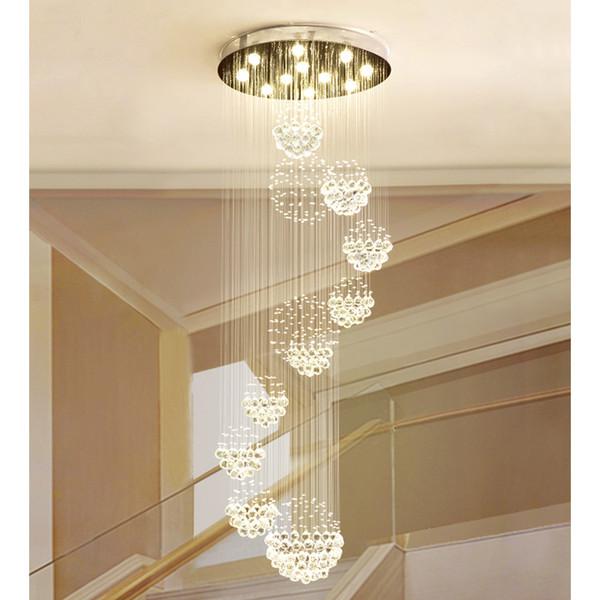 Lustre moderne pluie goutte grand luminaire en cristal avec 11 luminaire plafonnier sphère de cristal 13 GU10 plafonnier escalier