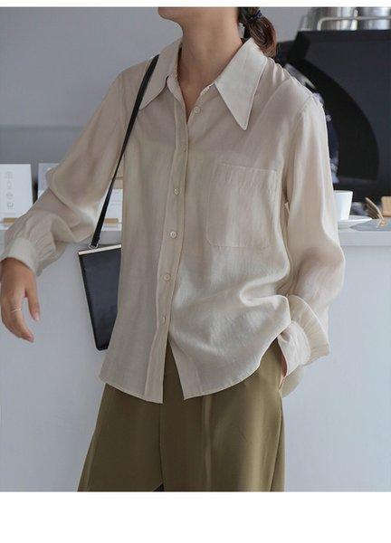 Nouveau style d'automne nouvelles blouses version coréenne satin satin simple simple chemise de satin à manches longues chics