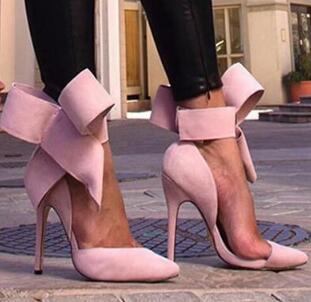 Atacado-Plus Size Sapato Mulheres Big Bow Tie Bombas 2015 Borboleta Apontou Stiletto Mulheres Sapato De Salto Alto Camurça Sapato De Casamento Zapatos De Mujer