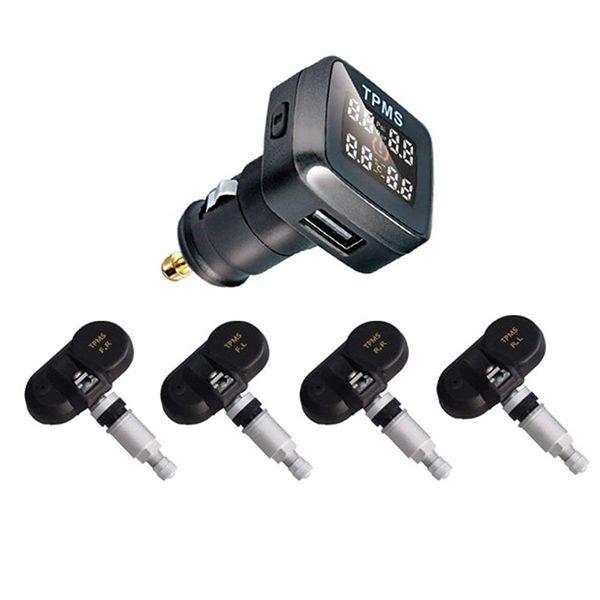 Universal Car TPMS Tempo reale pressione pneumatici Sistema di monitoraggio accendisigari Digital Display LCD Sistema di allarme auto di sicurezza