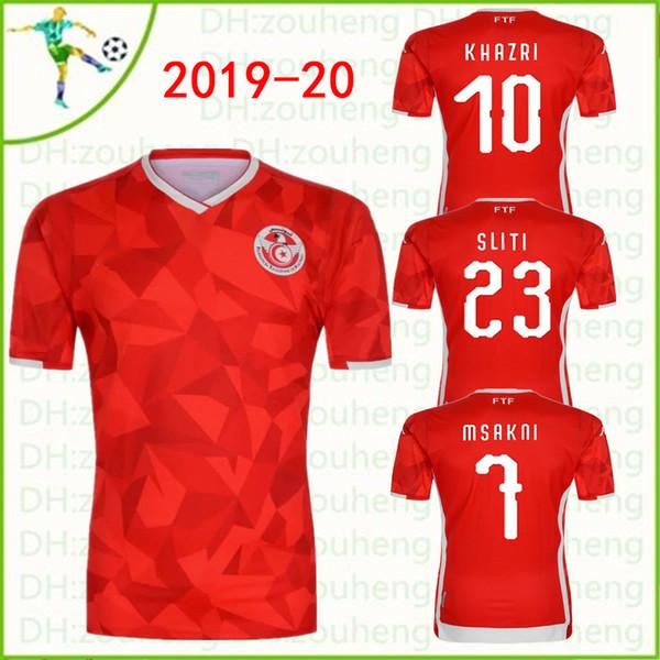 9821ef24e 2019 20 Tunisia national team Soccer Jerseys home Red Msakni Khazri Sliti  Wahbi Khaoui FAKHREDDINE BEN