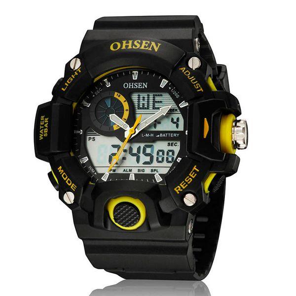 OHSEN Erkekler Askeri İkili Zaman Dijital Kuvars Led Işıklı Saat Su Geçirmez Spor Plastik Ohsen erkek Saatler relojes hombre