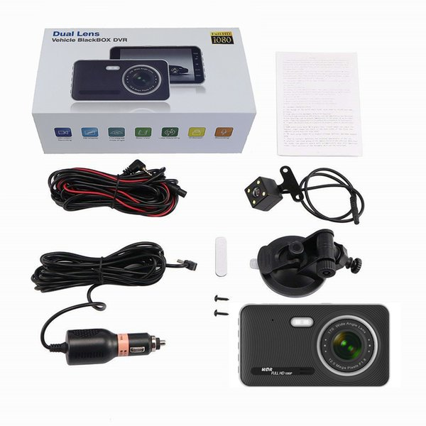 4 Inch Ips Dual Camera Full Hd 1080P with Rearview Mirror Car Driving Recorder Dvr Automatic Recorder Night Version