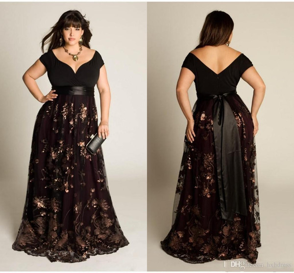 2019 New Plus Size Luxury Couture Prom Gown Capped Short Sleeve Floor Length Sexy Open Back Sequins Applique Sash Party Dresses For Women
