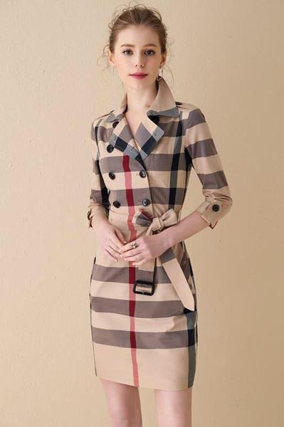 Revers en coton Plaid Classique Jupe longue de style britannique 2019 été nouvelle section mince à manches courtes femmes s'habillent de mode décontractée 01