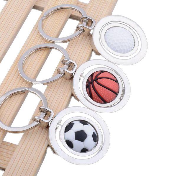 2019 3D Sport Rotating Basket Calcio Golf Portachiavi Portachiavi Souvenir Ciondolo Portachiavi Key Fob Ball Regali