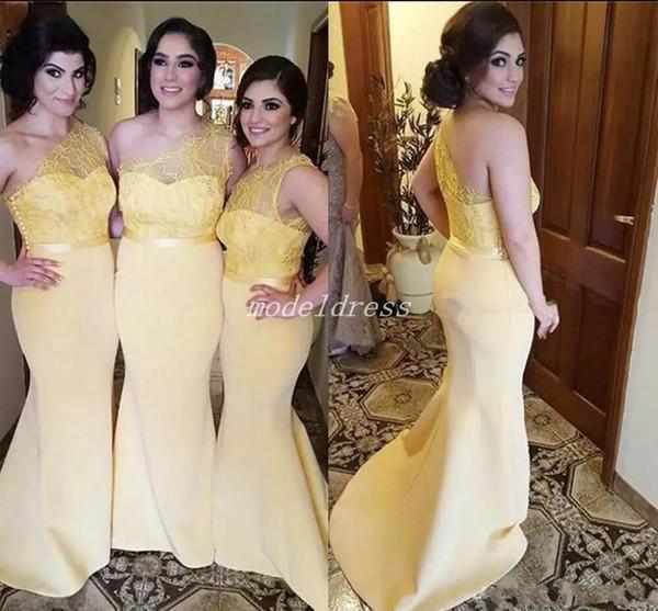 Bir Omuz Mermaid Gelinlik Modelleri 2019 Backless Sweep Tren Dantel Illusion Korse Bahçe Artı Boyutu Ülke Arapça Düğün Konuk Elbise