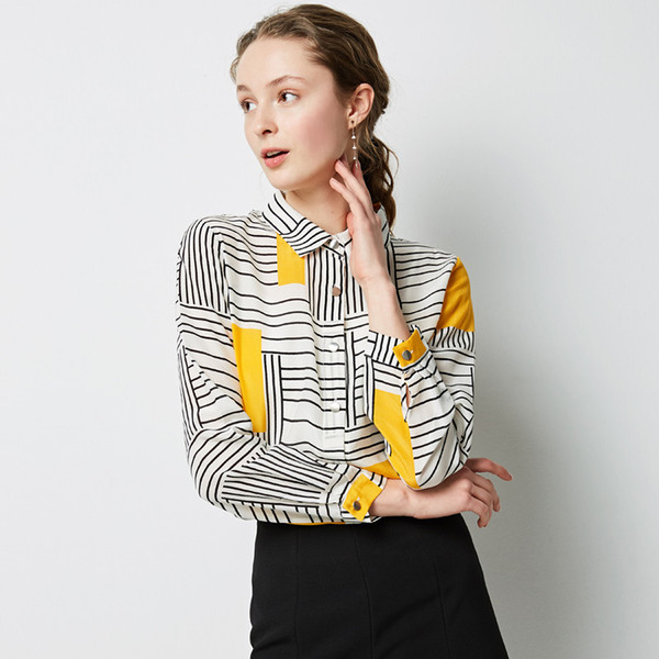 2019 new lapel single-breasted loose silk shirt ladies striped long-sleeved silk contrast color casual shirt
