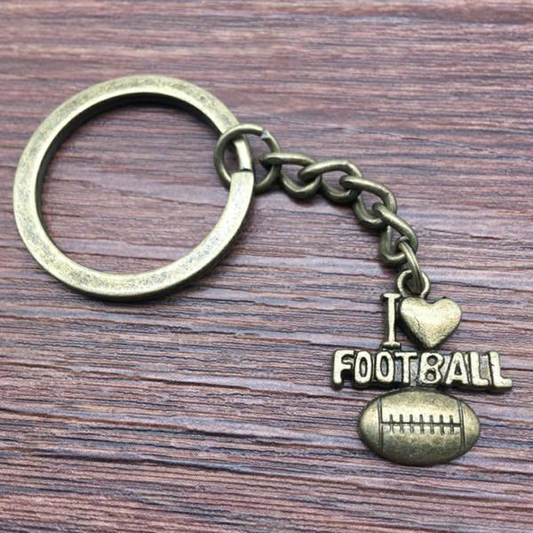 Keyring I Heart Football Keychain 20x18mm Antique Bronze New Fashion Handmade Metal KeyChain Souvenir Gifts For Women