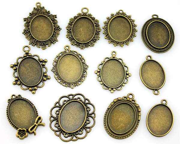 300 Gramm Oval 18x25mm Innenmaß Mix Designs Antik Silber Antik Bronze Zink Legierung Cameo Cabochon Grundeinstellung