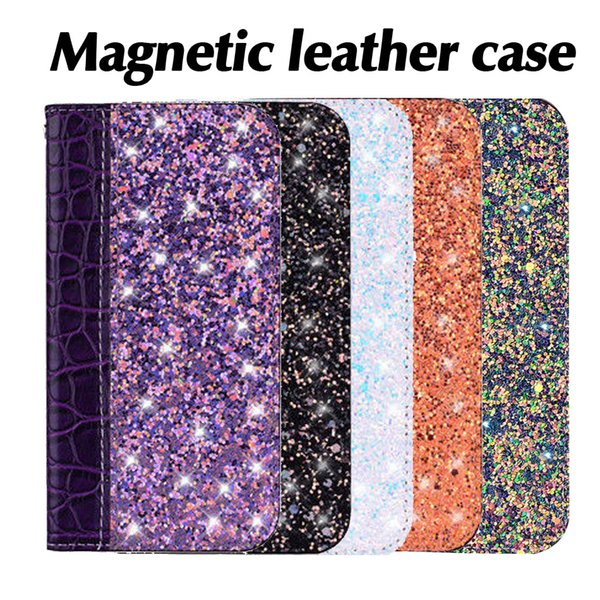 Magnetic Bling Wallet Case Crocodile Leather Glitter Flip Cover Card Holder Kickstand for iPhone X XS MAX XR 8 SamsungS8 S9 OPP Bag