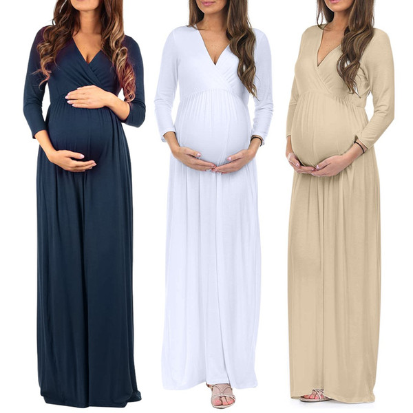 robes de maternité 2019 femmes grossesse grossesse 3/4 manches Casual froncé lâche, plus la taille Maxi Dress vestidos Dropship # 1986