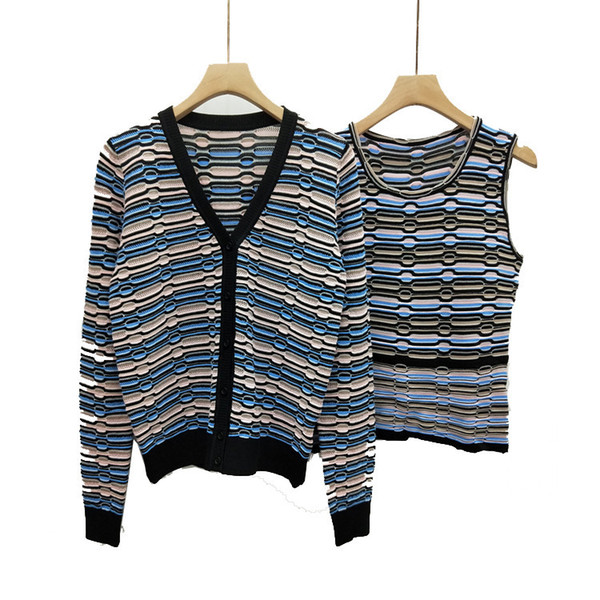 2019 spring and summer hollow vest V-neck knit cardigan loose coat female authentic spot supply