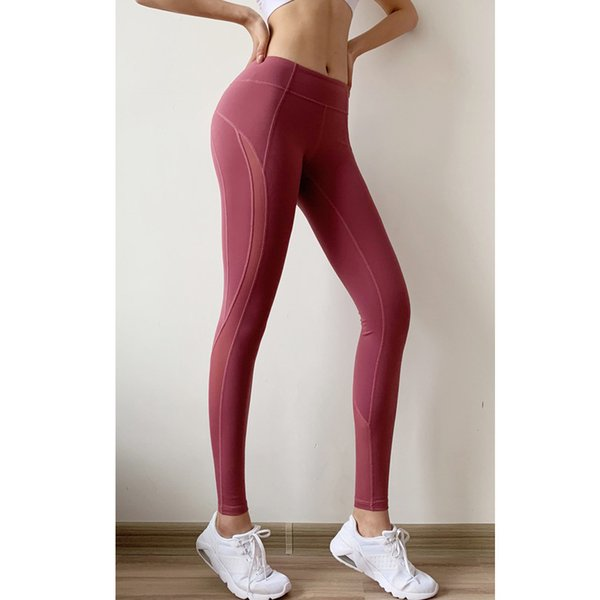 Designer new mesh stitching sexy hip fitness pants female high elastic sports tights quick-drying running training yoga pants large size wom