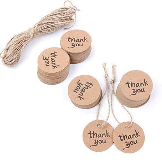 Yuvarlak Teşekkürler Hediye Etiketleri ile ip 100 adet Kraft Kağıt Etiketleri Çıkartmalar Noel için Hediye Sarma, Şükran Günü El Sanatları, Bebek Duş