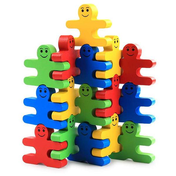 Yeni yaratıcı ahşap karikatür denge gülümseme kötü adam çocuk eğitici ahşap bloklar anaokulu erken eğitim monte oyuncaklar