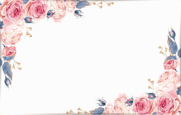 7x5FT Light Pink Floral Flowers White Wall Custom Photo Studio Backdrop Background Vinyl 220cm x 150cm