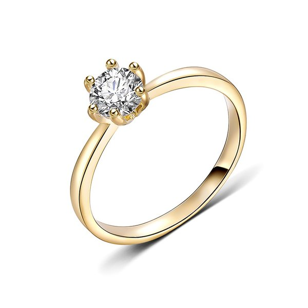Transmit love Best selling Exquisit round inlaid zircon gold colour ring for woman fashion Engagement Valentine love jewelry