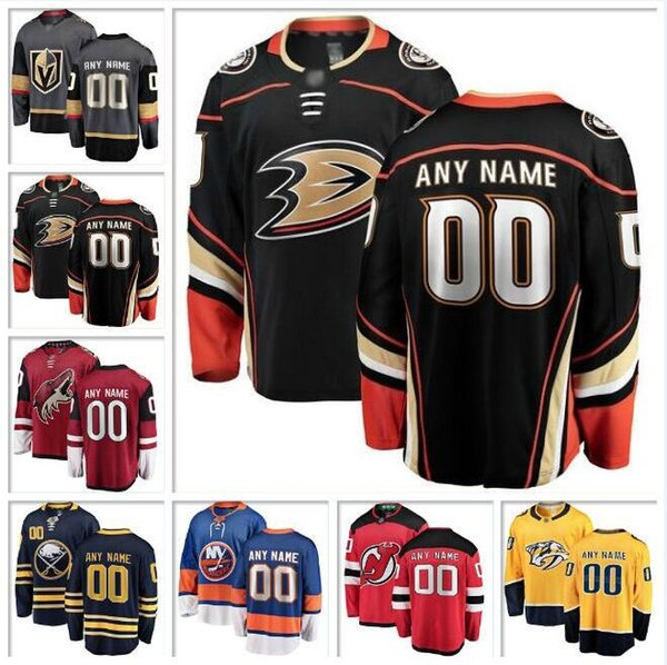 Custom nhl hockey New York Islanders Rangers Jersey Devils Buffalo Sabres Nashville Predators Anaheim Ducks goalie cut hockey jerseys patch