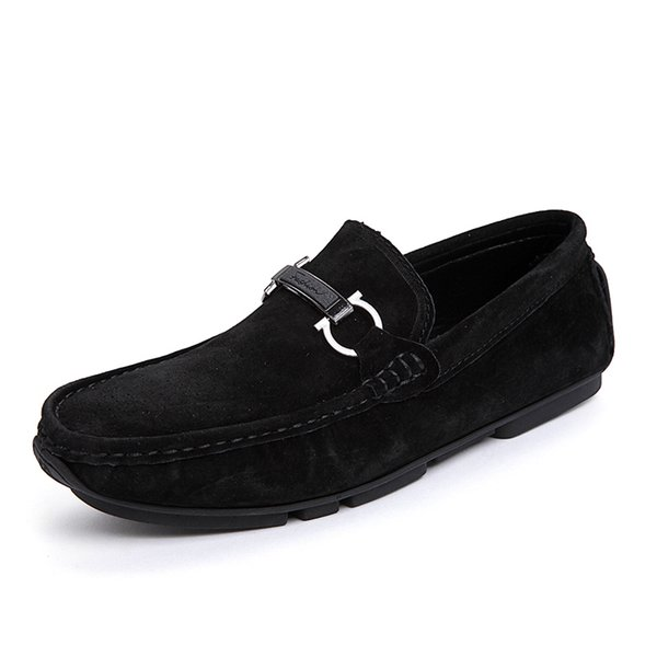 Mens Loafers Slip Shoes Casual Men Suede Leather Boat Shoes Car Driving Shoes Men's Loafer Man Moccasins Male Flats Black Free Shipping
