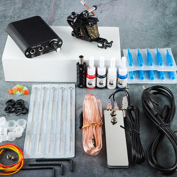 Kit de tatouage 20 couleurs Encres 8 Wrap Bobines Tattoo Gun Machines Grips Aiguilles d'alimentation Kit de tatouage pour débutants Accessoires Set