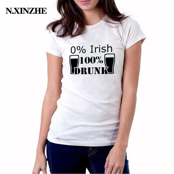 Women's Tee Womens Drinking Tshirt Saint Patrick's Day 0% Irish And 100% Drunk Hipster Harajuku Drink Graphic Tees Women Funny T Shirt