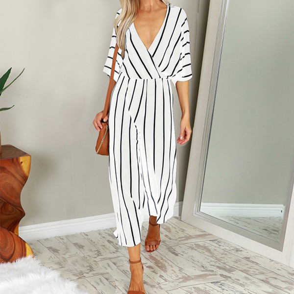2019 Fashion Women Jumpsuit Summer Casual Wide Leg Pant V-neck Short Sleeve Striped Rompers Office Long Playsuit High Bodysuit MX190726