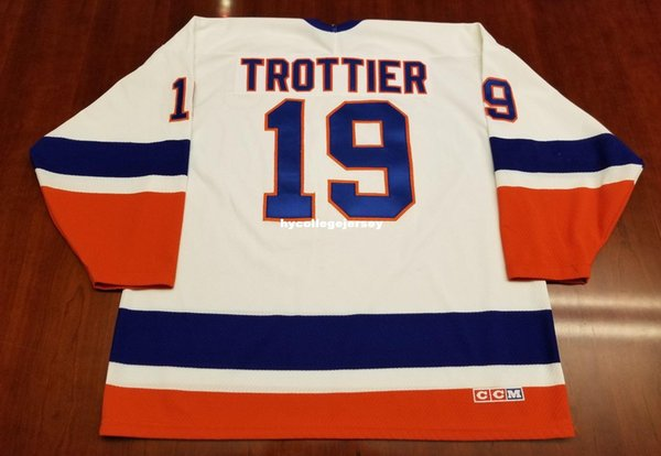 Wholesale Custom Brian Trottier Vintage New York Islanders CCM Hockey Jersey White Mens Retro Jerseys
