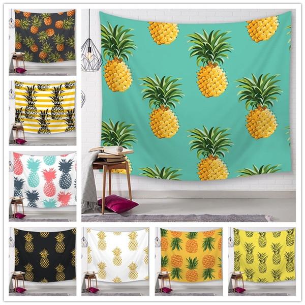 Ananas Serisi Duvar Asılı Tapestrie Baskı Bitki Karakterler Plaj Havlusu Polyester Elyaf Kadın Yoga Mat Moda Ev Dekor 150 * 130 cm 18q