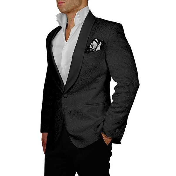 HB063 Custom Made 2018 Formal Mens Suits Slim Fit Black Color Men's Wedding Suits Groom Tuxedos For Men 2 Pieces Suit With Pants