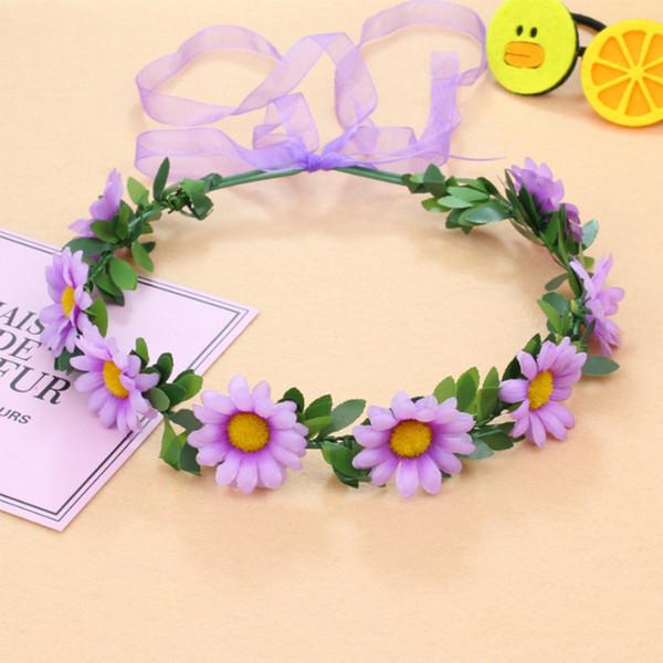 princess fashion white bride hair accessories floral garlands daisy halo wreaths crowns headwear headdress hairbands